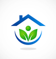 eco garden house ecology people logo vector image