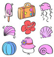 element summer beach doodle style vector image vector image