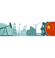 Energy and Power icons set China flag vector image vector image