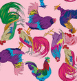 fantasy roosters pattern vector image vector image