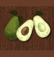 fresh organic avocado on old wooden table vector image