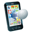golf ball flying out of mobile phone vector image vector image