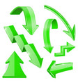 green shiny 3d arrows bent curved signs vector image vector image