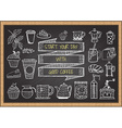 hand drawn coffee elements on chalkboard vector image vector image