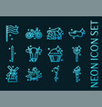 holland set icons blue glowing neon style vector image