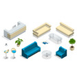 isometric set of modern office furniture modern vector image vector image