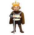 King with silver sword vector image vector image