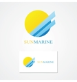 Logo combination of a sun and sea vector image vector image