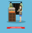 making coffee in flat style vector image vector image