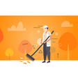 man cleaner sweeping road from leaves with broom vector image vector image