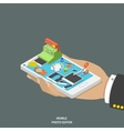 Mobile photo editor flat isometric concept vector image vector image