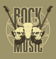 music emblem with skulls guitars and pentagram vector image vector image