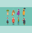 people freezing outside on cold rainy and windy vector image vector image
