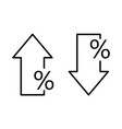 percent arrow down and up in line style vector image vector image
