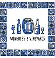 portugal landmarks set wineries and vineyards vector image vector image