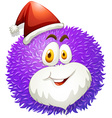 Purple fluffy ball with Santa hat vector image vector image