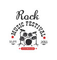 rock music festival logo 1804 black and red vector image vector image