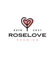 rose flower love heart valentine logo icon vector image vector image