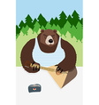 Russian bear animal playing on the musical vector image