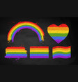 set chalked rainbow lgbt flag color banners vector image