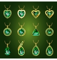 Set of green emerald pendants vector image vector image