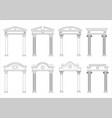 set of silhouettes of classic arches vector image vector image