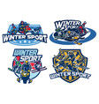 set on winter games badge design vector image vector image