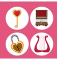 set valentines day symbols vector image