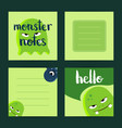 square note cards set with cartoon monsters vector image