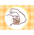 strong man hand with icon of basket with vector image