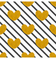 tile pattern with black stripes and golden hearts vector image vector image