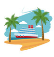 travel cruise ship passenger sea beach palm design vector image vector image