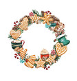 watercolor christmas wreath with gingerbread vector image