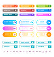 web colored buttons internet ui flat elements vector image vector image