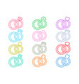 wedding rings outline icons vector image