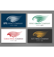 Winged logo company card set business label with vector image