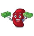 with money bag spleen mascot cartoon style vector image vector image