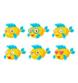 yellow fish with different emotions set cute sea vector image vector image
