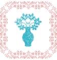 card with frame and vase in sketch style vector image