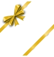 Realistic yellow satin ribbon bow with tails vector image