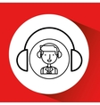 man hand drawing listening music headphones vector image