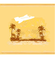 airplane with palm of tropics background vector image