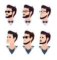flat cartoon hipster character set vector image