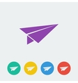 paper airplane flat circle icon vector image