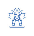anger line icon concept anger flat symbol vector image vector image