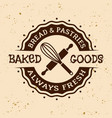 bakery and pastries vintage round emblem vector image vector image