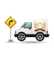 bakery delivery truck with left turn road vector image