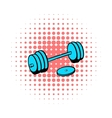 Barbell icon comics style vector image vector image