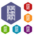 bookcase icons set vector image