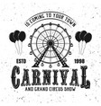 carnival funfair and ferris wheel black emblem vector image